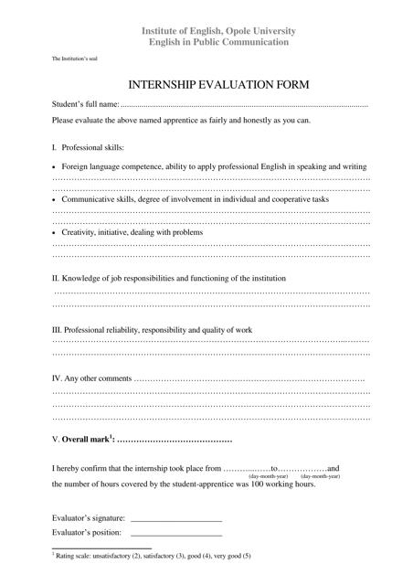 """Internship Evaluation Form - Opole University"" Download Pdf"