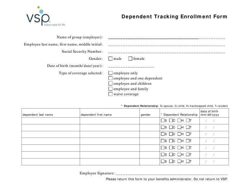 """""""Dependent Tracking Enrollment Form - Vsp"""" Download Pdf"""