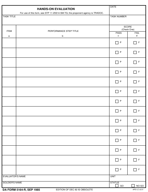 DA Form 5164-R  Printable Pdf