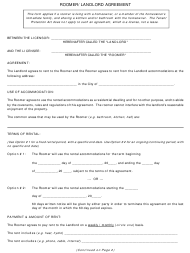 """Roomer/Landlord Agreement Template"""