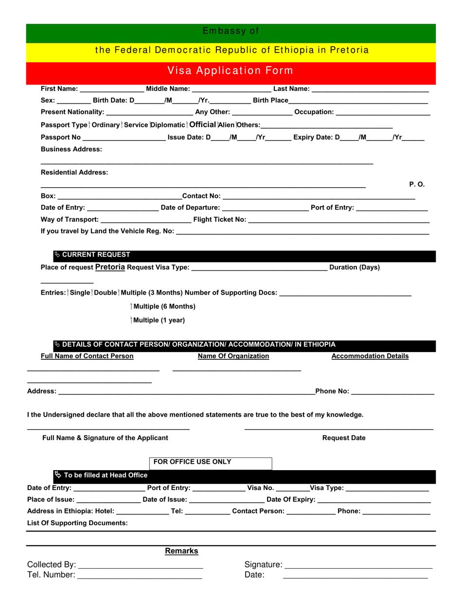 Pretoria Gauteng South Africa Ethiopian Visa Application Form Embassy Of The Federal Democratic Republic Of Ethiopia Download Printable Pdf Templateroller