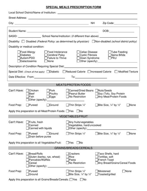 """""""Special Meals Prescription Form"""" Download Pdf"""