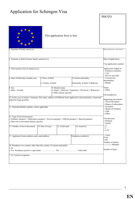 Schengen Visa Application Form Templates Pdf Download Fill And Print For Free Templateroller