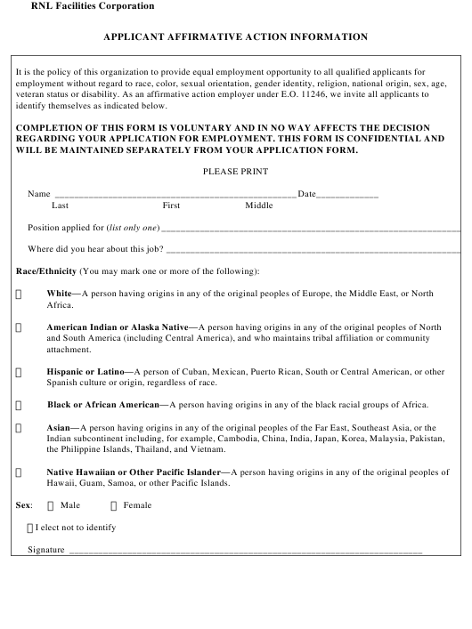 """""""Applicant Affirmative Action Information Form - Rnl Facilities Corporation"""" Download Pdf"""