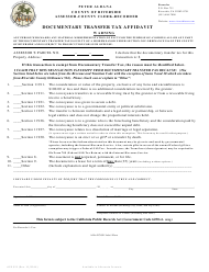 "Form ACR521 ""Documentary Transfer Tax Affidavit"" - County of Riverside, California"