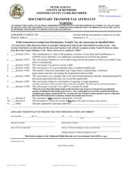 Form ACR 521 Documentary Transfer Tax Affidavit - County of Riverside, California