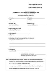 """Japanese Visa Application Withdrawal Form - Embassy of Japan"" - Thailand"