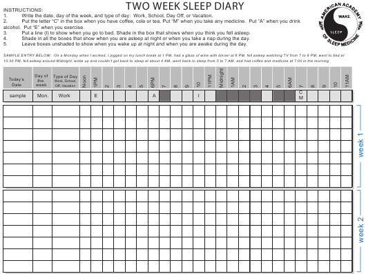"""Two Week Sleep Diary Form"" Download Pdf"