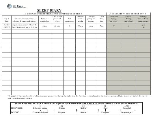 Bill Of Sale Example >> Sleep Diary Form - Tri-State Download Printable PDF ...