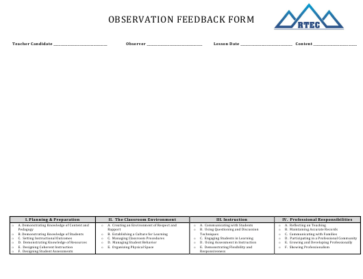 """Observation Feedback Form - Rtec"" Download Pdf"
