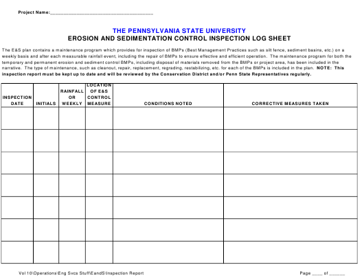 """Erosion and Sedimentation Control Inspection Log Sheet Template - the Pennsylvania State University"" Download Pdf"
