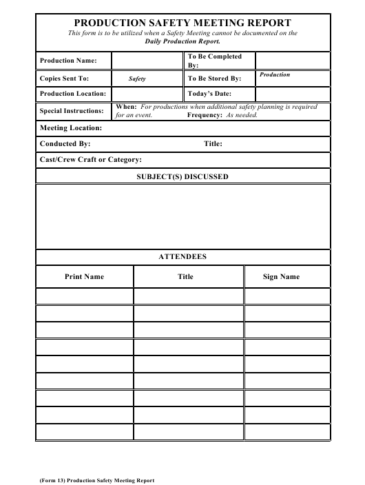 """""""Production Safety Meeting Report Form"""" Download Pdf"""