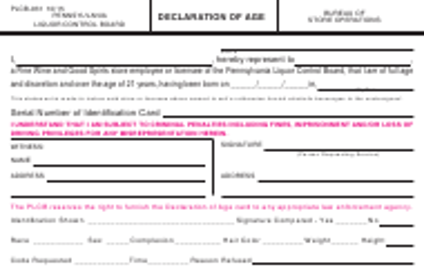 Form PLCB-931 Declaration of Age - Pennsylvania