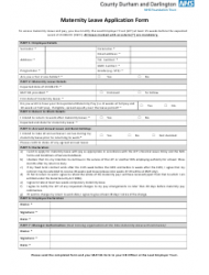 Maternity Leave Application Form - Nhs County Durham and Darlington