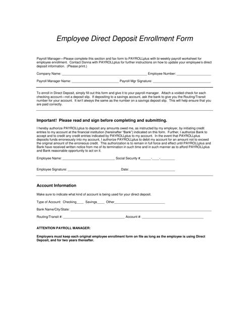 """Employee Direct Deposit Enrollment Form"" Download Pdf"