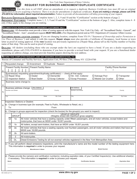 Form MV-253g Download Fillable PDF, Request for Business
