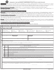 Form MV-253g Request for Business Amendment/Duplicate Certificate - New York