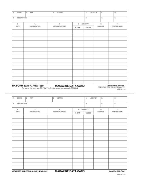 DA Form 3020-r Printable Pdf