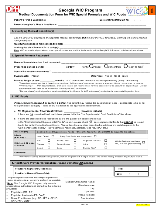 """""""Medical Documentation Form for Wic Special Formulas and Wic Foods"""" - Georgia (United States) Download Pdf"""