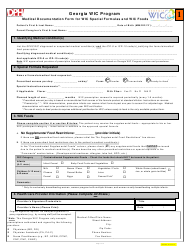 Medical Documentation Form for Wic Special Formulas and Wic Foods - Georgia
