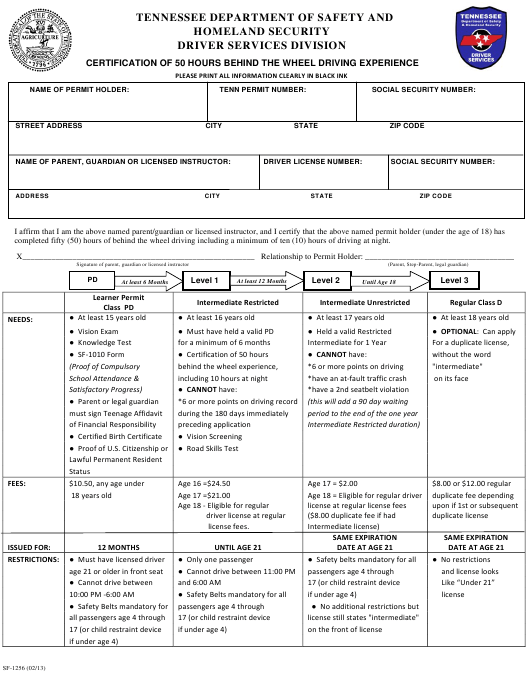 Form SF-1256 Download Printable PDF, Certification of 50