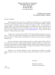 """Certificate of Formation of Limited Liability Company Form"" - Delaware"