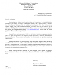 Certificate of Formation of Limited Liability Company Form - Delaware