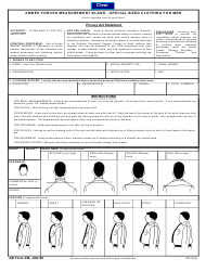 DD Form 358 Armed Forces Measurement Blank - Special Sized Clothing for Men