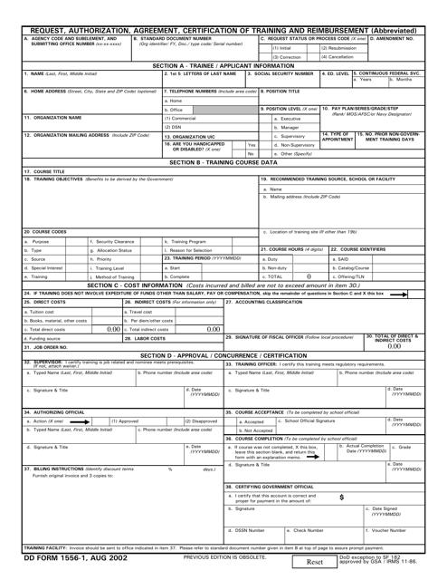 DD Form 1556-1  Fillable Pdf