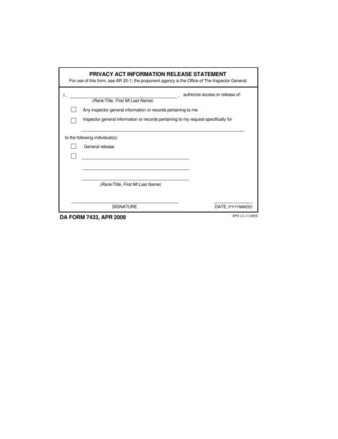 DD Form 7433  Printable Pdf