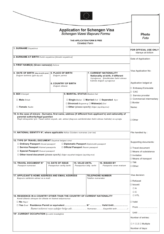 Schengen Visa Application Form - English/Turkey Download Pdf