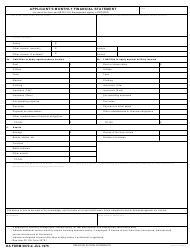 DA Form 3072-2 Applicant's Monthly Financial Statement