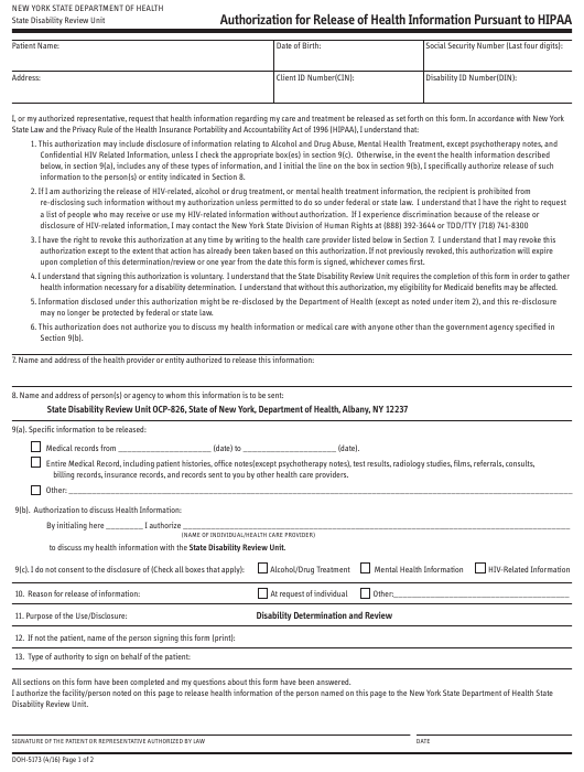 Form DOH-5173  Printable Pdf
