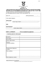Form 12 Application for Variation or Setting Aside or Protection Order