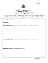 Postgraduate Concept Paper Template - Kenyatta University Graduate School