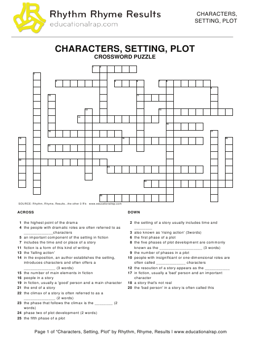 """Characters, Setting, Plot Crossword Puzzle Template - Rhythm, Rhyme, Results"" Download Pdf"