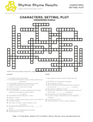 Characters, Setting, Plot Crossword Puzzle Template - Rhythm, Rhyme, Results