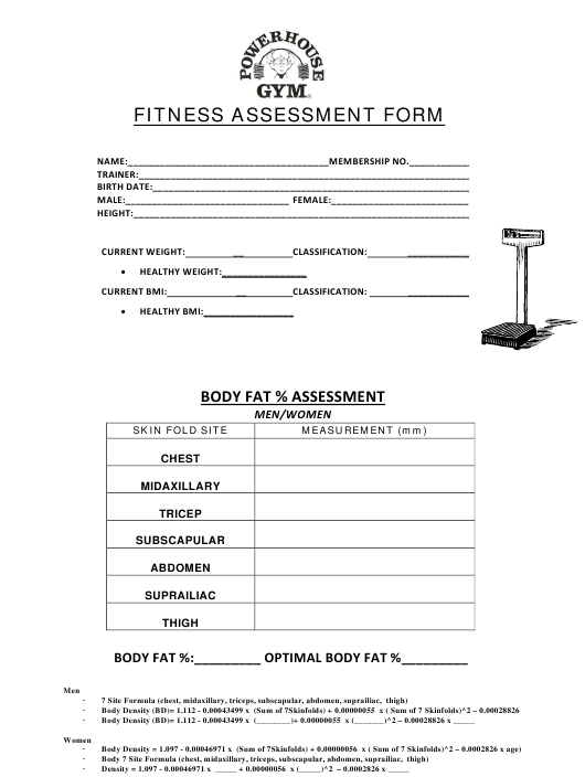 """Fitness Assessment Form - Powerhouse Gym"" Download Pdf"