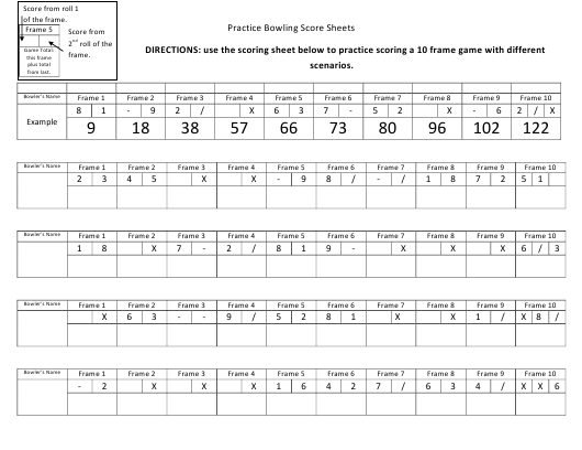"""Practice Bowling Score Sheet Template"" Download Pdf"