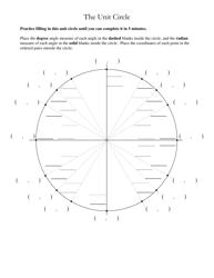 Unit Circle Worksheet