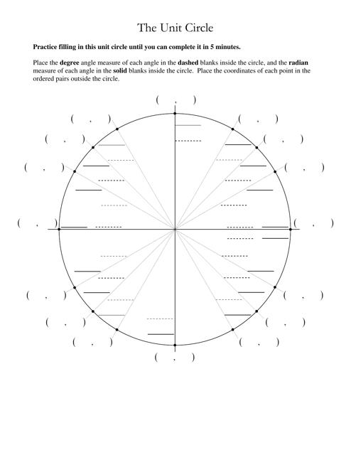 """""""Unit Circle Worksheet"""" Download Pdf"""