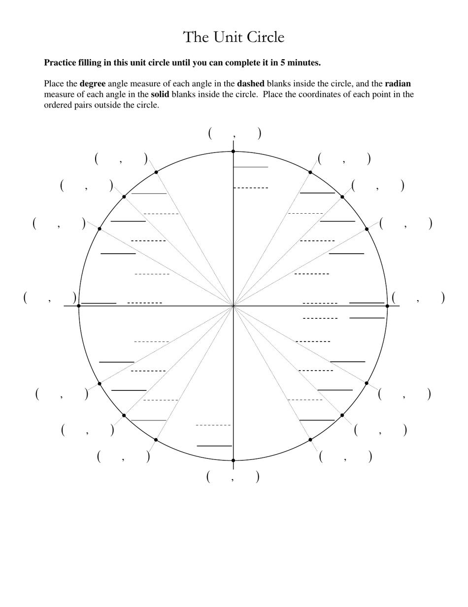 Unit Circle Worksheet Download Printable PDF | Templateroller