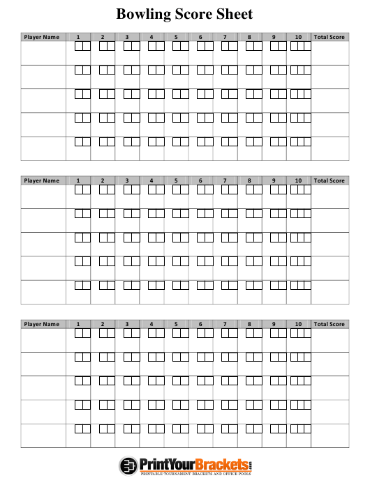 """Bowling Score Sheet"" Download Pdf"