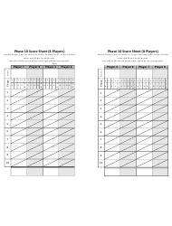 Phase 10 Score Sheet for 8 Players - Two Per Page