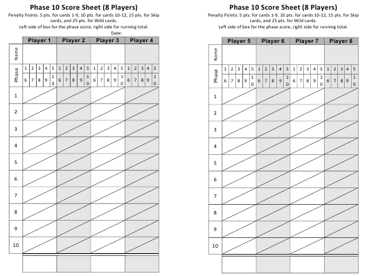 """Phase 10 Score Sheet for 8 Players - Two Per Page"" Download Pdf"