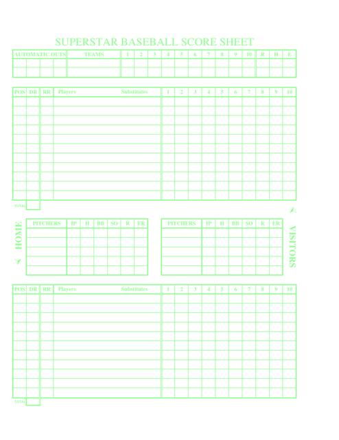 Baseball Score Sheet | Superstar Baseball Score Sheet Download Printable Pdf Templateroller