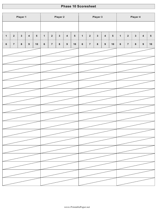 """Phase 10 Scoresheet Template"" Download Pdf"
