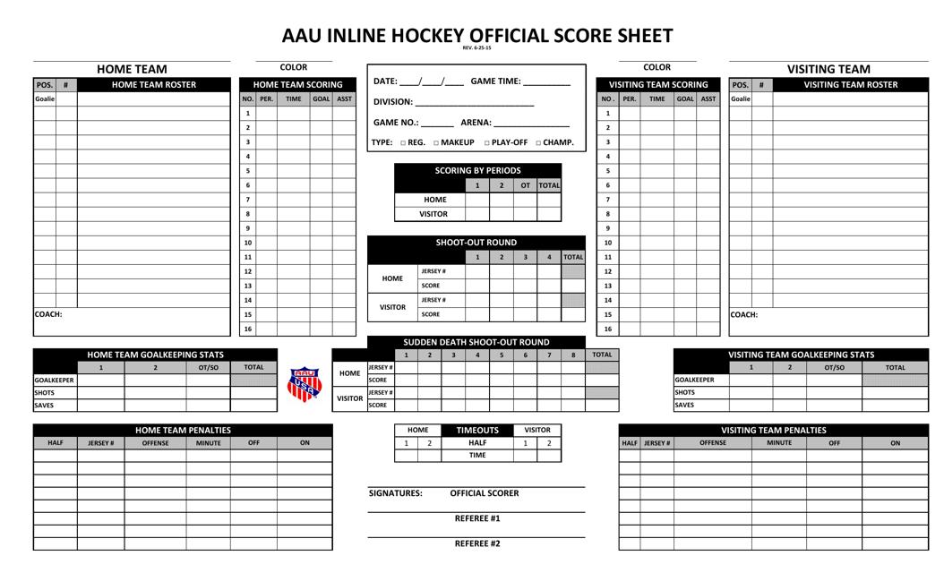"""Aau Inline Hockey Official Score Sheet"" Download Pdf"