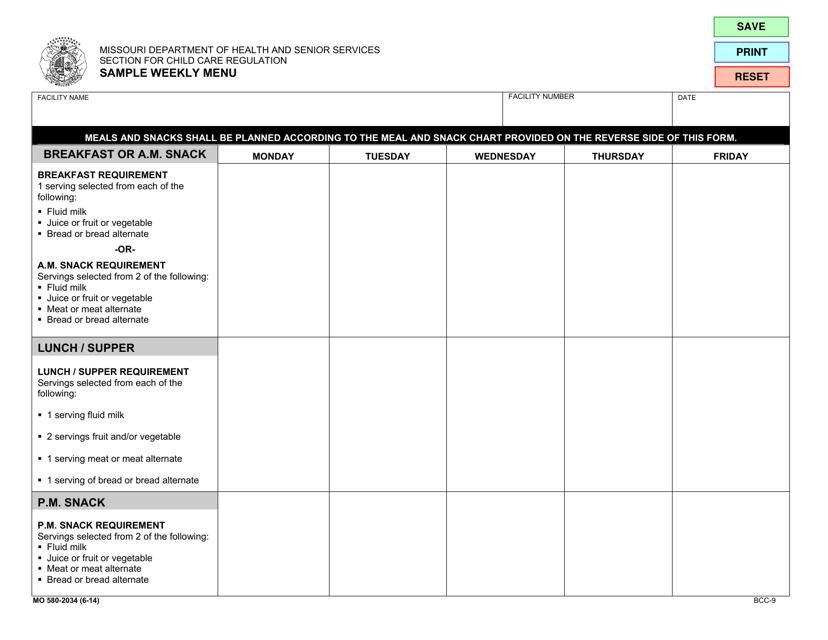 Form BCC-9 (MO580-2034)  Printable Pdf