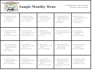 "Sample ""Monthly Menu - the Early Learning Center at Fieldhome"" - New York"